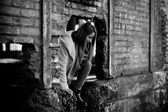 IMG_8471 (dafloct) Tags: escape scape black white byn woman young mujer joven cute wall wreck san rosendo ruinas abandonado ruins noon tarde sun luz daylight chile 8 region canon t5 50mm