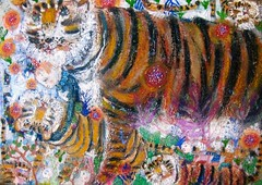 don't look back in anger (bettycat) Tags: artcolourflowerdoll artpaintingtree tiger anger colour children chinese china painting drawing hk illustration fineart