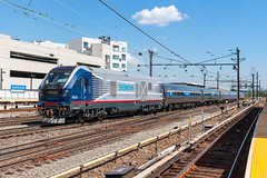 Trailing Charger (sullivan1985) Tags: train railroad railway harrison newjersey nj path siemens sc44 charger test eastbound nec northeastcorridor idtx4604 amtk605 amtrak sprinter