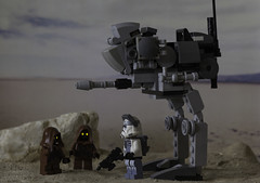 Questioning the Locals (LegoLee) Tags: blaster dc17m walker at lego clonetrooper wolf wolfpack jawa tatooine toy sand desert fun humour humor jedi order66