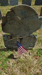 Cinched Gravestone - IMGP5462 (catchesthelight) Tags: northcemetery portsmouthnh historic cemetery nh slate angels skulls stones grave tombmarkers lichen flag