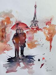 374 Paris sous la pluie (Explore 30/09/2016) (Wuwus Bilder) Tags: kunst malerei aquarell paris regen eiffelturm ownpainting watercolour latoureiffel