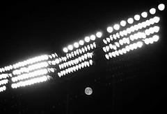 Oriole Park ~ Harvest Moon Risin' - HSS! (karma (Karen)) Tags: baltimore maryland oriolepark camdenyards lights moon monochrome bw sliderssunday hss