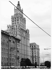 High-Rise on Sadovo-Spasskaya Street, Moscow, Russia. (lyudmila fomina) Tags: outdoor architecture building city urban mygearandme canon autofocus moscow sadovospasskaya blackandwhite monochrome