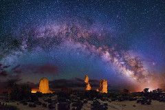 Balanced Rock Panorama (Wayne Pinkston) Tags: nightphotography lightpainting night canon stars arches galaxy astrophotography nightsky archesnationalpark milkyway brokenrock canon6d landscapeastrophotography waynepinkston lightcraftercom wwwlightcraftercom