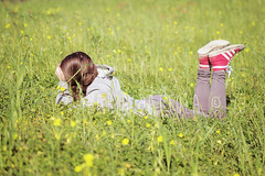 breathing perfume of spring. (Maria Dattola) Tags: flowers people girl spring perfume lawn yellowflowers dirtyshoes breathing greengrass warmtones hairbraid inthemeadow seasonalimage
