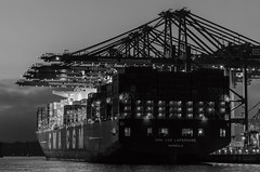 Container ship in the port of Hamburg at night (Sebastian-76) Tags: bw white black night port germany deutschland nikon ship harbour hamburg container april sw dslr hafen schwarz 2015 weis d5100