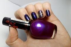 """Desafio """"Meu Nome é..."""" ~ R: Raíssa - Nyce. (Raíssa S. (:) Tags: black purple preto dourado nails impala nailpolish avon unhas roxo nailart risqué esmalte naillacquer nyce kicor desafiomeunomeé"""