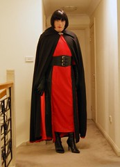 Red Again (11) (Furre Ausse) Tags: red black leather vintage belt long dress boots wide full gloves cape cloak satin length lined