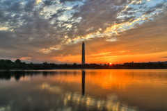 The Peace Breaks over Capitol Hill (AJ Brustein) Tags: morning sky orange reflection water yellow clouds sunrise canon aj dc washington memorial long exposure break cloudy mark district iii horizon hill peaceful columbia roosevelt capitol 5d washingtonmonument hdr tidalbasin brustein 5dm3