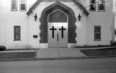 Church, Zorki 5, Tri-X 400 (Bronica John) Tags: zorki blackandwhite bw white black church self kodak 5 trix 400 50 developed industar selfdeveloped kodaktrix400 zorki5 industar50
