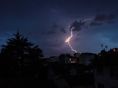 Fire my light (Markus Nissa) Tags: city sky urban cloud storm night ciel nuage thunder orage clair lx100
