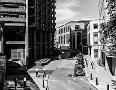 Silk Street (JB_1984) Tags: street city uk light shadow england blackandwhite bw london tower mono unitedkingdom cab taxi streetphotography barbican brutalism brutalist cityoflondon blackcab silkstreet blacktaxi barbicancentre squaremile barbicanestate