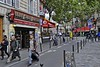 Striding on the Rue Saint-Andre-des-Arts (AntyDiluvian) Tags: street trip people paris france walking 2015 striding placesaintmichel ruesaintandredesarts
