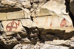 Shield-bearing Warriors (ebhenders) Tags: bear gulch pictographs grass range montana rock art red ochre sandstone shield bearing warrior