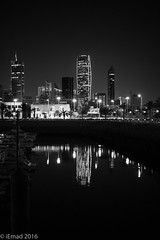 City and the Marina... (EHA73) Tags: leica nightphotography blackandwhite bw skyline marina cityscape towers kuwait sharq souksharq leicamm kipcotower aposummicronm1250asph sharqcity typ246