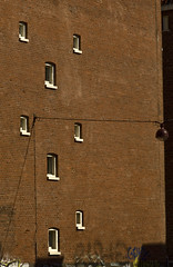 259 - Peculiar windows (kosmekosme) Tags: windows wall street streetlight holland amsterdam brick bricks pattern peculiar peculiarwindows white graffiti line lines center centre derdelooiersdwarsstraat derde looiersdwars