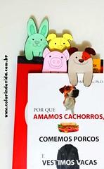Marcadores de livros em forma de animais (gianjos) Tags: animais veganismo livro marcadordelivros bookmark porquinho coelhinho caozinho cahorro puppy
