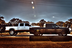 233 (Strangely Different) Tags: diesel chevy 1500 powerstroke ford silverado slammed jacked force american 22x14 1958 delray