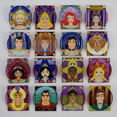 Disney Royalty Limited Release Mystery Pin Collection - Disneyland and eBay Purchase - Complete Set of 16 Pins (drj1828) Tags: us disneyland dlr anaheim california pin limitedrelease prince disney princess complete