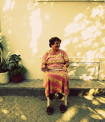 She's got a really big smile! (kamerss) Tags: bozcaada lady people canon canoneos500d