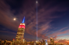 Tribute In Light 9/11/2016 (AAA Studio) Tags: building manhattan esb tribute center moon 2016 light sunset skyscraper wtc red midtown empire clouds sky trade world 911 state tall cityscape skyline outdoor garment district