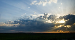 Sunset (gwilwering) Tags: clouds landscape panorama rays sky sun sunset        sony a350