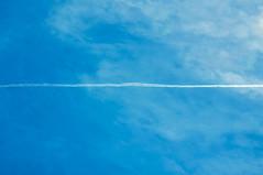 cut sky (pascal.dickhoff) Tags: aviation sky blue half trail trails plane planes planetrails contrail contrails clouds aerial air high contrast d5000 nikon minimal minimalism minimalist 200mm 55200mm f22