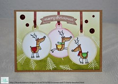 Christmas Card #7   Clearly Besotted (Lisa/B) Tags: clearlybesotted letsprance reindeer christmas ornament tree merrchristmas distressinks embossing copic copiccoloring christmas2016 cardmaking creative handmade christmascard winter lbcardcreations