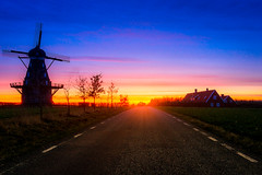 Vindmlla (Hofverberg Photography) Tags: road sunset color windmill countryside skne sweden