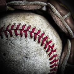 Strike 2 (Daren N.) Tags: old red macro ball baseball glove mondays stiches macromondays