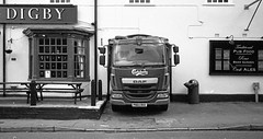 Digby pub in Water Orton (robmcrorie) Tags: camera leica food white house black film public water beer garden pub delta lorry delivery m3 ilford digby warwickshire carlsberg lager orton eater daf