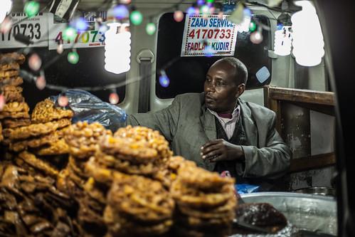Street vendor selling from a van, Hargeisa