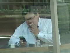 On the Yamanoto Line 04 (screenpunk) Tags: man men guy mobile japan tokyo guys smoking yamanotoline