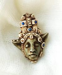 city-head imp (SelenaAnne) Tags: polymerclay polyclay cernit sculpey fimo face bead pendant handmade