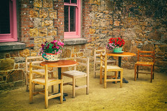 Welcome to the tea party (MacBeales) Tags: table chairs plants pots cup saucer jersey hamptonne canon eos windows wall stone cafe courtyard