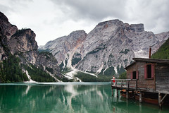 Me and my lake (elsvo) Tags: yellow lake cabin italy lakebraies pragserwildsee self selfportrait clouds red elsvanopstal mountains dolomites
