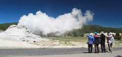 The geyser is right over there (RPahre) Tags: panorama tourism pano bluesky yellowstonenationalpark yellowstone geyser eruption castlegeyser uppergeyserbasin upperbasin peopleofyellowstone icymi