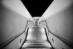 (ajhenriques) Tags: bw black white digital street minimal abstract light shadows human people silhouete lisbon lisboa contrast city walking blackandwhite monochrome woman women lady portugal windows nikon d200 stairs textures walls background minimalism underground