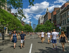 Car-Free on Newbury Street (mgstanton) Tags: boston street newburystreet newbury pedestrians carfree city citylife on1pics sonya6000