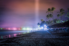 Beach night (Mauricio Narea) Tags: sea sky beach colors night stars fun lights luces landscapes long exposure quiet nightscape colores vacations bohemian puntacana