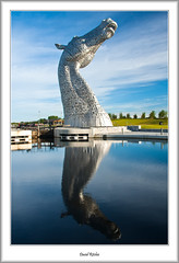 Kelpies Reflection In the Morning (flatfoot471) Tags: 2015 canal falkirk forthandclydecanal forthvalley normal scotland sculpture stirlingshire summer thekelpies unitedkingdom stirlinghshire