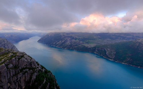 Sunset at the Preikestolen, Lysefjorden, Norway
