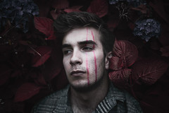 These Are The Shapes That Bind Us (Elliot Tratt) Tags: portrait portraits plant plants nature unatural hiding shadow shadows edit edited canon eos 5d 5dm2 magic cornwall 2016 self line lines dark mood moody red reds selfportrait