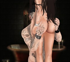 A little naughty (Hadley & Blazon) Tags: woman together couples couple secondlife sexy signature shirtless naked naughty tattoo tease erotic maitreya mesh meshbody men mine glamaffair realevil