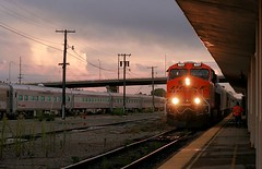 Side-by-side O-trains in Topeka (Jeff Carlson_82) Tags: bnsf burlingtonnorthernsantafe ocs otrain officetrain businesstrain businesscar 8237 es44c4 topeka station depot storm clouds ks kansas train railfan railroad railway