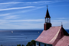 Tadoussac chapel (le cabri) Tags: tadoussac wood church chapel old vintage river ocean sailor woodenchurch redroof red roof white sky blue bluesky clouds quebec qc stlawrence