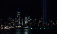 Tribute in Light | New York, N.Y. (Stefan Hueneke) Tags: stefan hueneke canon t5i new york manhattan jersey city big apple world trade center one freedom tower 911 september 11th memorial remembrance in memory tribute light hudson river pier 2470mm f28 long exposure water night photography downtown nyc ny nj 2016