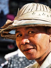 Mandalay - Man with helmet (sharko333) Tags: travel reise voyage asia asien asie myanmar burma birma mandalay street portrait people man helmet nun olympus em5