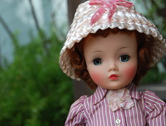 Happy Easter and Passover (Emily1957) Tags: pink light hat vintage toy toys nikon doll dolls stripes kitlens naturallight 1950s 1855mm strawhat cloche cissy clochehat nikond40